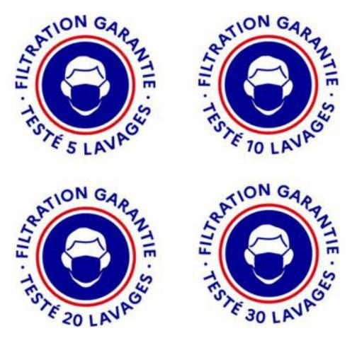 """logos bleus et rouges pour reconnaître un masque """"grand public"""" testé et validé par le gouvernement"""